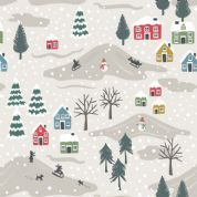 Lewis & Irene - Snow Day - 5959 - Snowy Scene on Pale Grey, Pearlescent - C34.1 - Cotton Fabric